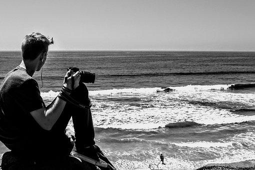 Beach, Friend, Camera, Waves, Black And White, People