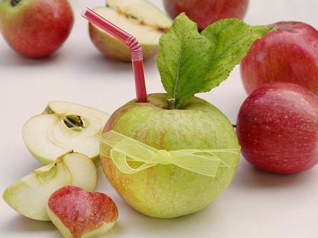 Apple, Straw, Heart, Vitamins, Health, Bio