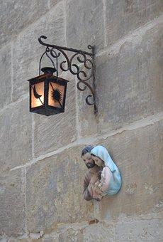 Malta, Religion, Lantern, Alley, Wall, Josef, Maria