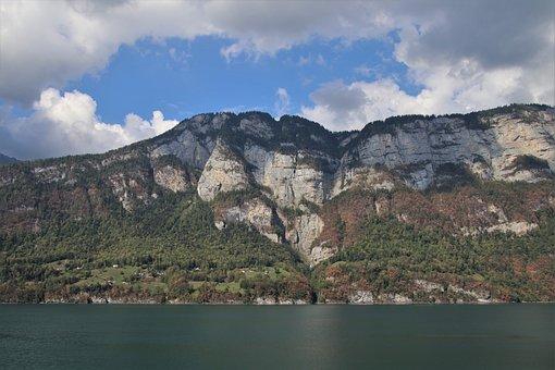 The Alps, High, Array, Tops, Mountains, Rocks, Lake