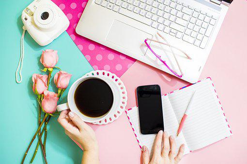 Lifestyle, Pink And Blue, Blog, Laptop, Coffee On Table