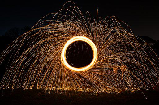 Steelwool, Fire, Lightplay, Firespin, Pattern, Texture