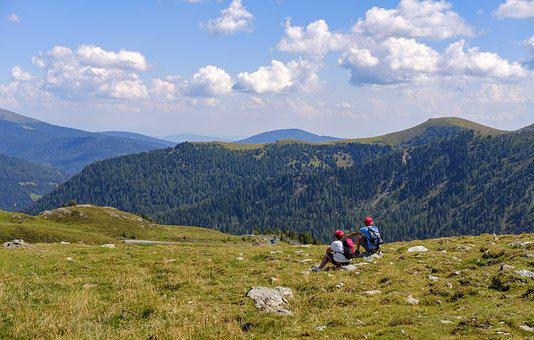 Hiking, Wanderer, Rest, Break, Enjoy, Meadow, Hill