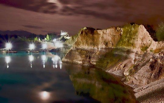 Stretch, Kieswerk, Night Photograph, Water, Mirroring