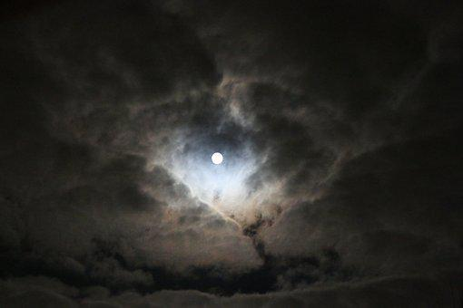 Moon, Night, Clouds, Moonlight, Dark, Full Moon