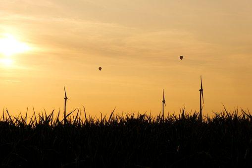 Windräder, Hot Air Balloon, Sunset, Dusk, Mountains