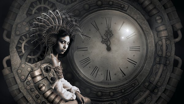 Fantasy, Clock, Woman, Surreal, Light, Mysterious, Mood