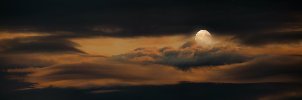 Nature, Sky, Moon, Full Moon, Clouds, Night
