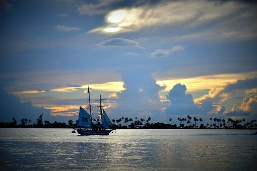 Boat, Ocean, Night, San Juan, Puerto Rico, Blue, Sunset