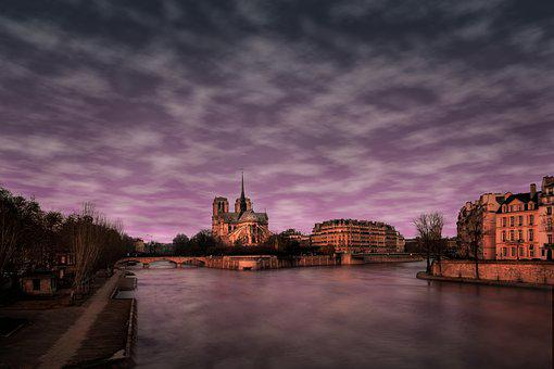 Paris, Notre-dame, France, Seine, Travel, Evening