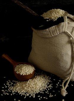 Risotto Rice, Rice, Italian, Dark Photo, Rice In A Sack