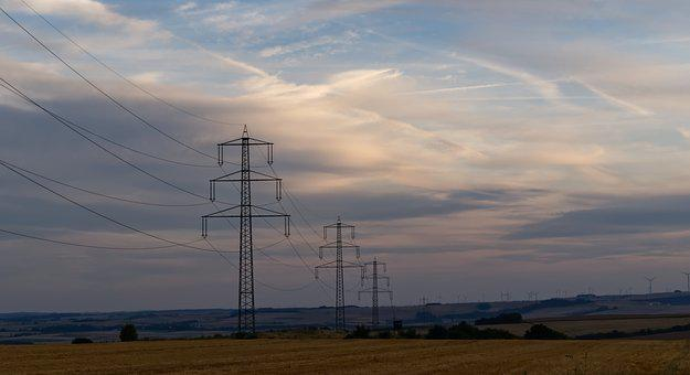 Power Line, Strommast, Clouds, Sky, Landscape, Current