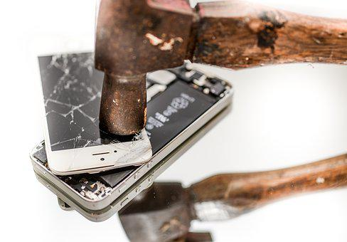 Iphone, Hammer, Broken, Smartphone, Technology, Smash