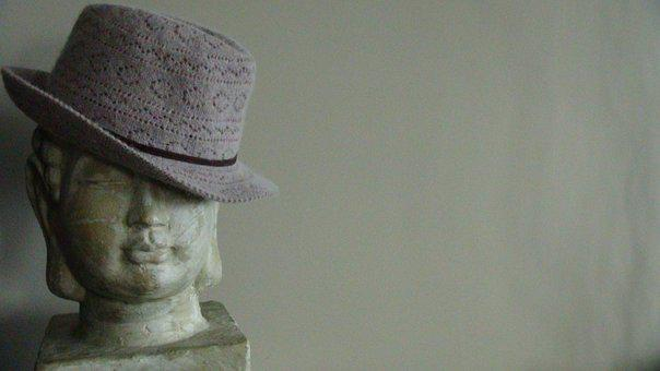 Buddha, Hat, Statue, Patina, Zen, Spiritual, Antique