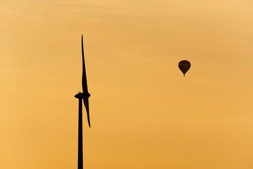 Windräder, Hot Air Balloon, Sunset, Dusk, Silhouette