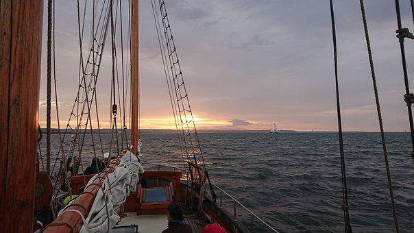 Sailing Vessel, Sunset, Baltic Sea