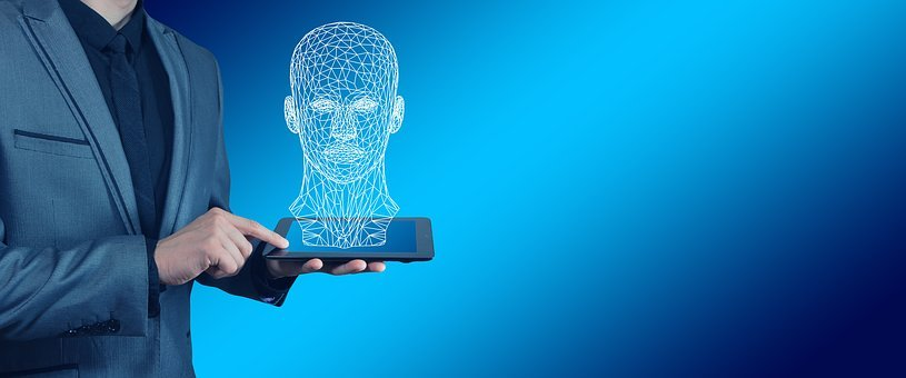 Businessman, Tablet, Head, Wireframe, Face, Lines, Web