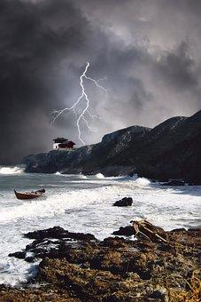 Sea, Wave, Beach, Anchor, Thunderstorm, Flash, House