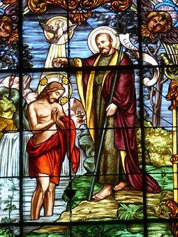 Window, Church Window, Jesus, Baptism, Baptized John