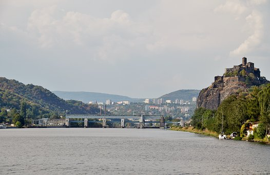 River, Elbe, ústí Nad Labem, Current, Castle, Střekov