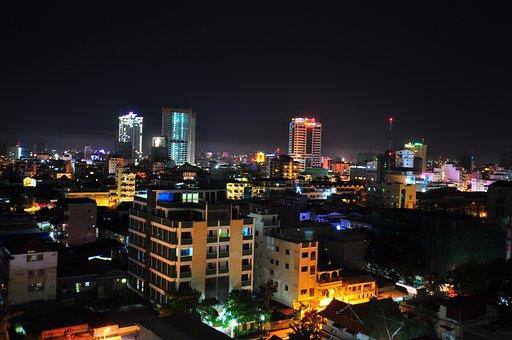 Cambodia, City, Asia, Penh, Phnom, Evening, Sky