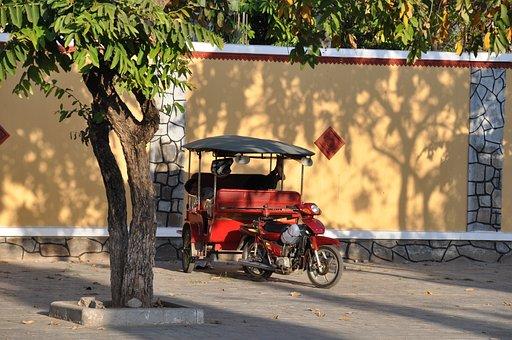 Cambodia, Rickshaw, Phnom Penh, Car