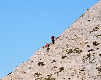 Climbing, Climbers, Top, Upstream, Carega, Hiking