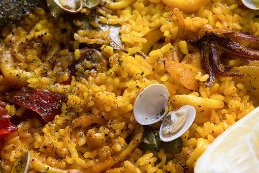 Paella, Rice, Clams, Food, Seafood, Spanish Food