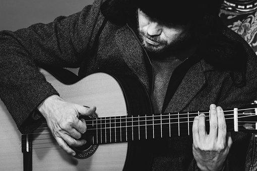Guitar, Strange, Bizarre, Oblique, Guitarist, Coat