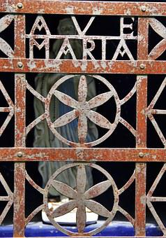Ave Maria, Holy Madonna, Iron Ornament, Prayer Space