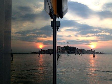 Venice, Sunset, Laguna, Port State Control, Reflection