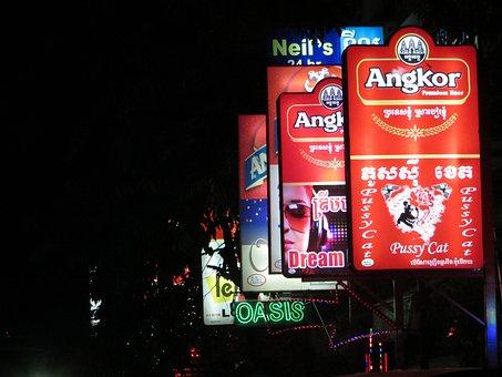 Neon, Signs, Bar, Neon Sign, Night, Phnom Penh