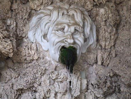 Rot, Park, Face, Seaweed, Statue, Italy, Old, Fountain