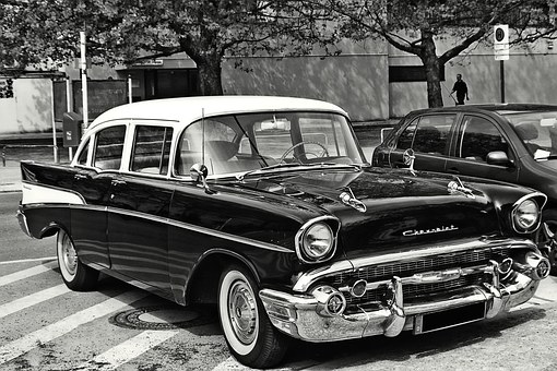 Oldtimer, Chevrolet, Usa, Pkw, Black And White, Low Key
