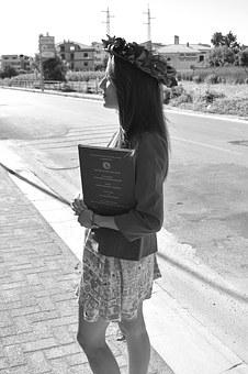 Graduation, Red, Black And White, Girl, Laurel Wreath