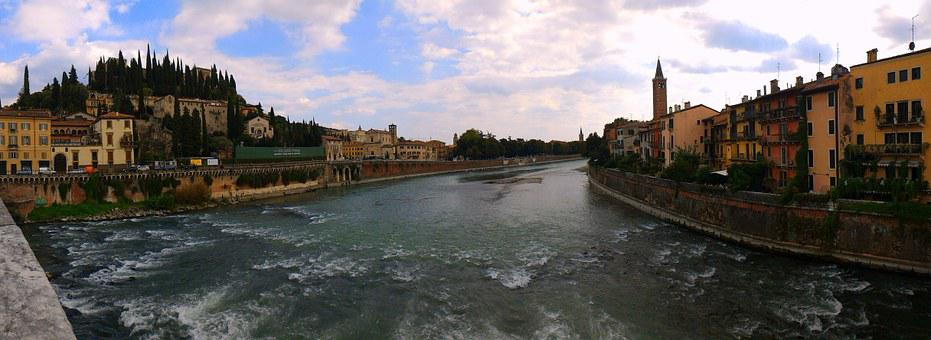 River, City, Verona, Water, Adige, Sky, Clouds, Houses