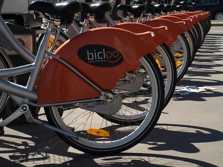 Bicycle, Hire, Nantes, Row, City, Bike, Transportation