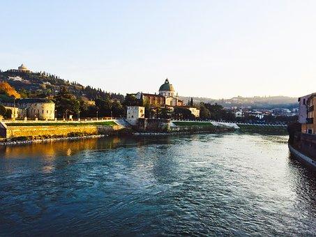Verona, Bridge, River, Adige, The River Adige, Vista
