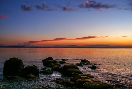 Nature, Landscape, Afterglow, Blue Hour, Sea, Greece