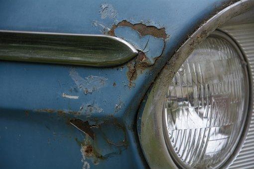 Car Wreck, Auto, Blue, Rust, Oldtimer, Automotive