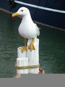 Seagull, Wood, Carved, Water, Pier, Sea, Bird, Pile