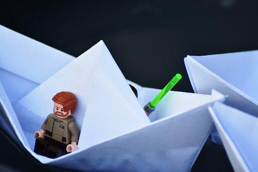 Boat, Meet, Friends, Fight, Lego, Water, Paper
