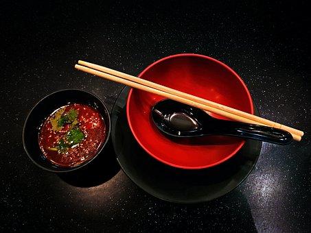 Black, Bowl, Chopsticks, Cook, Food, Lunch, Red