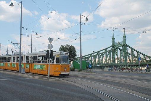 Hungary, Tram, Bridge, Budapest