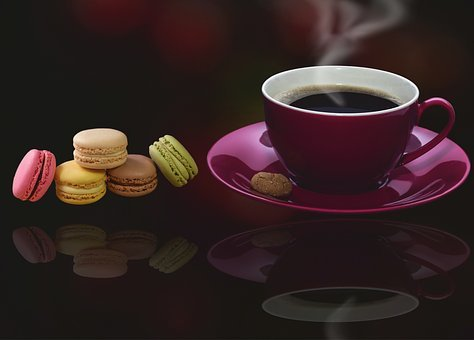 Coffee, Cup, Red, Mirroring, Macarons, Cake, Biscuit