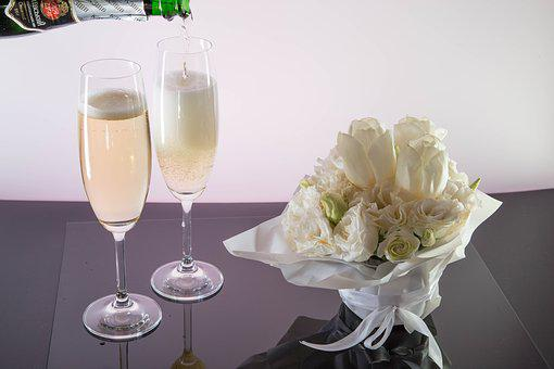Champagne, Pours, Wine Glasses, Flowers, Celebration