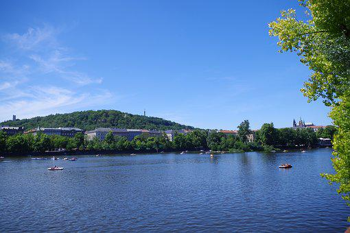 Moldova, Prague, Czech Republic, River, City, Panorama
