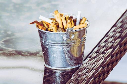 Ashtray, Cigarette, Fags, Cigars, Table, Bucket