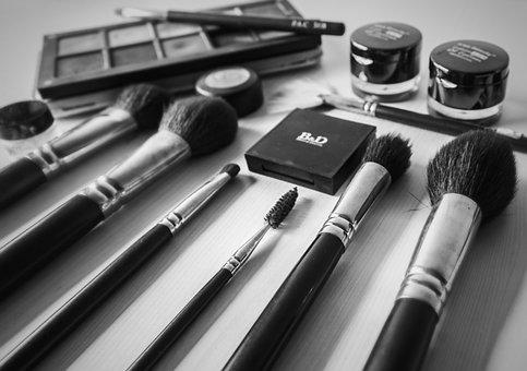 Black White, Flat Lay, Cosmetics, Makeup, Brush, Kit