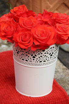 Roses, Flowers, Red Bucket, White, Bouquet, Romance